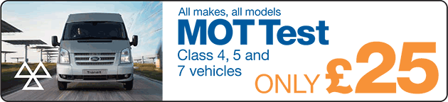 MOT Test only £25 (Class 4, 5 and 7 vehicles)