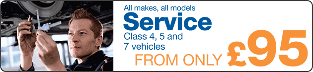 Service only £95 (Class 4, 5 and 7 vehicles)