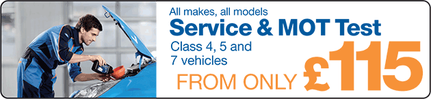 Service & MOT Test only £115 (Class 4, 5 and 7 vehicles)